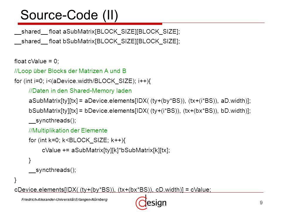 Source-Code (II) __shared__ float aSubMatrix[BLOCK_SIZE][BLOCK_SIZE];